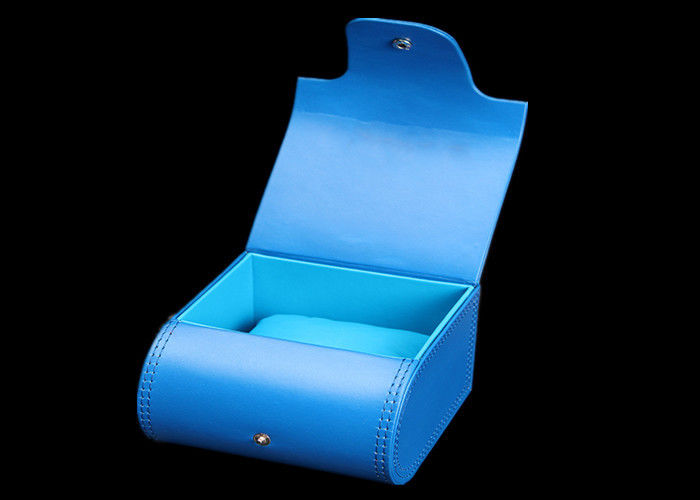 Blue Cardboard  Women Watch Box With Stitching Gift Packaging Durable 110 * 110 * 80mm