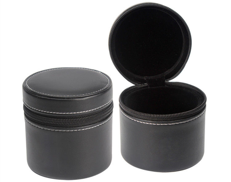 Round Leather Watch Travel Case With Zipper , Black Mens Watch Cases Jewelry Box
